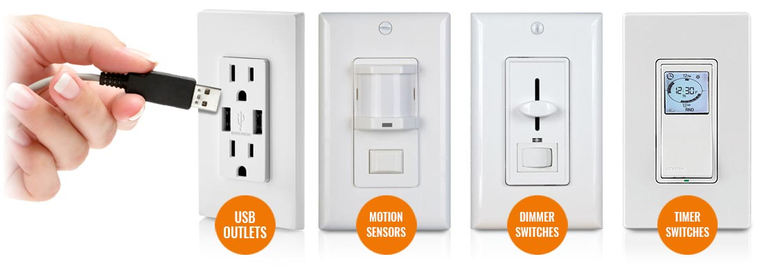 USB Outlets, Motion Sensors, Dimmer Switches, Timer Switches