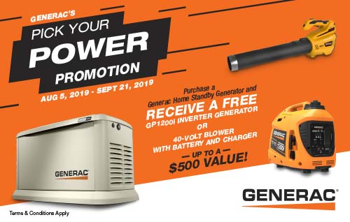 Limited Time Offer! Purchase a Generac Home Standby Generator and receive a FREE Inverter Generator OR 40-Volt Blower - a $500 Value!